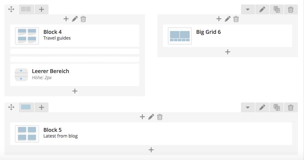 Beispiel einer Seite mit dem Visual Composer