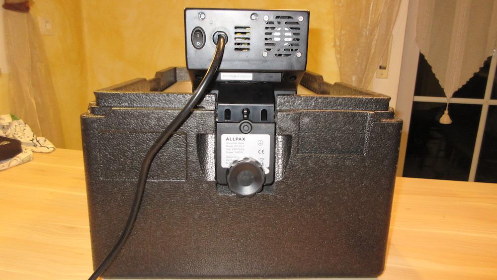 Allpax SV2 in der Aussparung der Thermobox