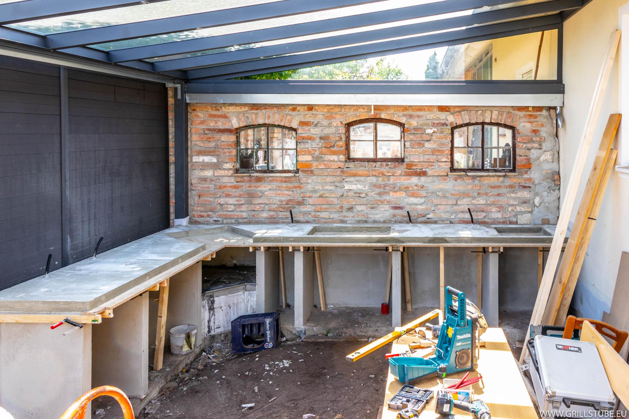 Outdoor Küche Aus Beton : Outdoorküche betonieren der arbeitsplatte andys grillstube